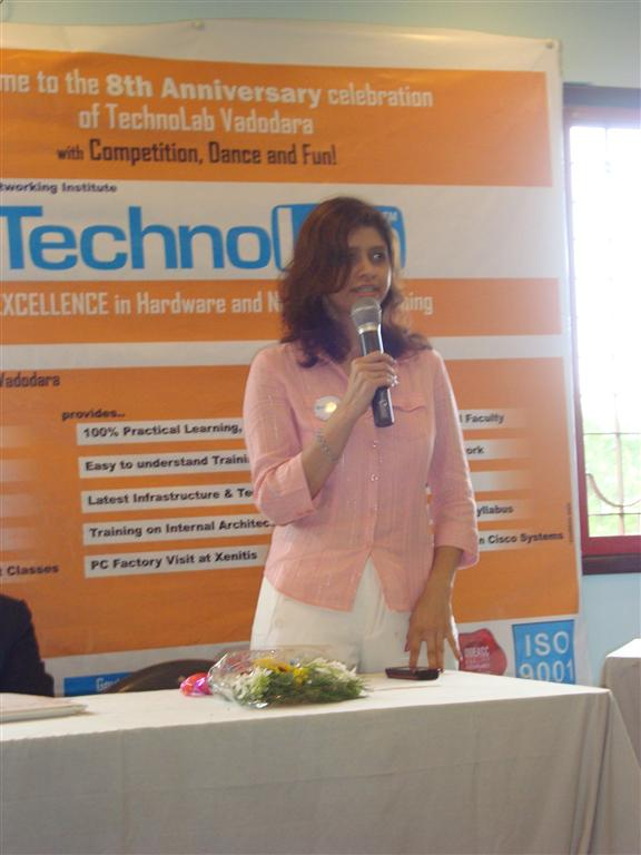 The CEO, Mrs Rachana Karia addressing the students gathering...